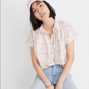 MADEWELL Central Popover Fine Plaid Shirt M NWT